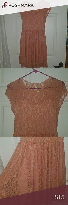KTOO Sherbert colored lace dress Medium, lace all over, back has lace but is exposed. Very flowy! KTOO Dresses Midi