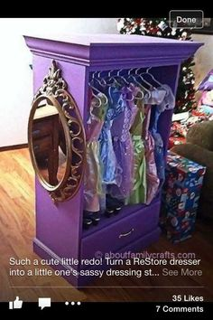 """Dress Up """"Closet"""" ~ use an old/cheap dresser pull out all but the last drawer top with a shelf. Add Dress Up """"Closet"""" ~ use an old/cheap dresser pull out all but the last drawer top with a shelf. Add some crown molding paint! Little Girl Rooms, Little Girls, Baby Girls, Dress Up Closet, Closet Rod, Wardrobe Closet, Dress Up Wardrobe, Tiny Closet, Bedroom Wardrobe"""