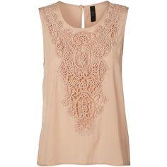 fbe6e388fb731b Vero Moda Crochet Sleeveless Blouse ( 14) ❤ liked on Polyvore featuring tops
