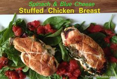 Spinach Blue cheese stuffed chicken breast gluten free protein baked poultry