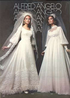 Alfred Angelo vintage designer fashion bride ad, styled by Edythe Vincent from August 1976