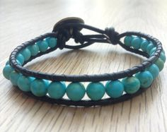 Leather Wrap Turquoise Bracelet by darccreationsshop on Etsy,