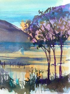 Original Water Colour  painting  'Evening Light' Signed