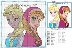 Elsa and Anna cross stitch pattern