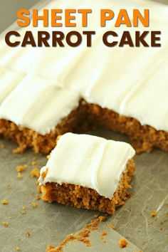 This soft Sheet Pan Carrot Cake makes enough to feed a crowd! This recipe uses a secret ingredient instead of shredded carrots. Topped with a fluffy cream cheese frosting, this dessert will leave everyone wanting the recipe. Desserts For A Crowd, No Cook Desserts, Just Desserts, Dessert Recipes, Delicious Desserts, Diy Party Desserts, Quick Easy Desserts, Peanut Butter Desserts, Peanut Butter Balls