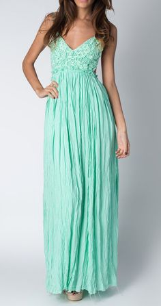 Paradise USA Fashion Mint Scoop-Back V-Neck Maxi Dress