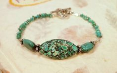 Turquoise Beads and Sterling Silver Beaded Bracelet by CKDesignsUS, $40.00
