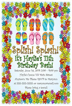 Custom flip flop pool beach swimming party birthday bridal baby custom flip flop pool beach swimming party birthday bridal baby shower invitation card any color children pinterest custom flip flops filmwisefo