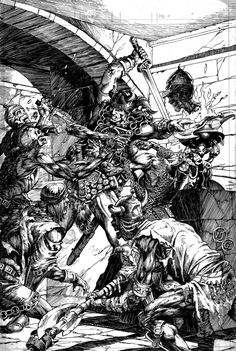 Terrific action illustration for 'Savage Sword of Conan' No.105 by William Johnson (pencils) and Geof Isherwood (inks)