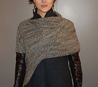 Ravelry: L'Enveloppe $ pattern by Sally Melville. Because one arm goes through (as does the neck) but the other arm is free, it's not a cape, not a poncho, not a shrug, not a shawl, not a cowl. It's small enough to wear under a coat but big enough to wear instead of one. (hva)