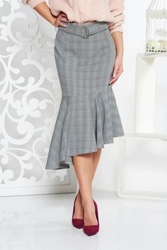 StarShinerS office high waisted asymmetrical skirt from non elastic fabric with chequers black, accessorized with belt, without clothing, plaid fabric, back zipper fastening, non elastic fabric, high waisted, with ruffle details, asymmetrical cut