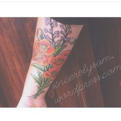 Poppie and Lupin Tattoo | Sacred Skin | Valley Springs, California | orange blue green lavender
