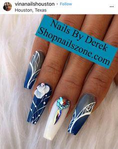 Best Nail Art Decorations To Choose Glam Nails, Fancy Nails, Bling Nails, Cute Nails, Pretty Nails, Blue Acrylic Nails, Acrylic Nail Designs, Nail Art Designs, Crazy Nail Designs