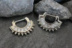 Afghan Fan Crystal Clicker    Also available as: Septum Jewelry, Afghan Fan Septum Ring, Septum Clicker in Silver 16G, Daith Earring, Daith Piercing, Nipple Hoop, Nipple Ring, Tribal Boho – MyBodiArt