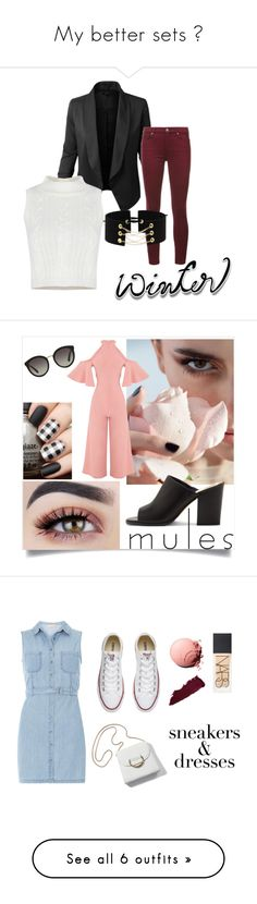"""My better sets 😏"" by majorfashionguru ❤ liked on Polyvore featuring Jupe de Abby, 7 For All Mankind, Dolce&Gabbana, Vince Camuto, Dorothy Perkins, Converse, NARS Cosmetics, Casetify, Topshop and Wrangler"