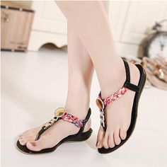 Women sandals 2017 new fashion slip-on casual summer sandals women ethnic flower wedges sandals for women chaussure femme