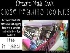 Close Reading Toolkit Printables: Create Your Own!-FREE!