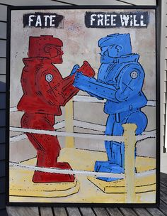 "The age old battle - ""Fate vs. Free Will"" Which Rock'em Sock'em Robot will win? Vinatge antique game toy painting by Rob Johnston."