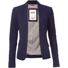 Tommy Hilfiger Caro Blazer ($185) ❤ liked on Polyvore featuring outerwear, jackets, blazers, blazer, navy, women, cotton blazer, navy blazer, tommy hilfiger blazer and long sleeve jacket