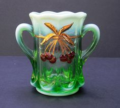 Vintage Mosser Glass Spooner Vase Green by TheWanderingBear