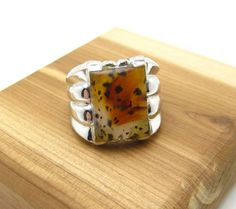 Classic Art Deco Uncas Sterling Silver Agate Ring Size 6 1/2 #Uncas #RibbedBand