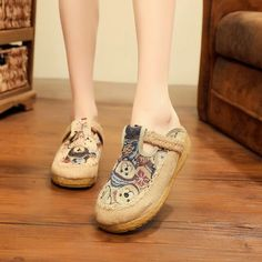 [leggycozy] Handmade Cute Bear Embroidered Comfortable Linen Mules Sho Mules Shoes, Flats, Kawaii Shoes, Cute Bears, Types Of Shoes, Espadrilles, Cotton Fabric, Slippers, Heels