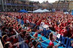 The Arkansas Pep Rally Was held at Allstate Fan Fest on North Peters St in the French Quarter, adjacent to Jax Brewery and Hard Rock Café in downtown New Orleans.