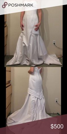 Wedding dress Gorgeous wedding dress, never worn (except by me to take the picture). Zip up back. Comes with a garnet bag and the underskirt/crinoline. Dresses Wedding