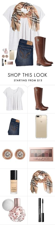 """Ootd for school"" by jadynheikkila ❤ liked on Polyvore featuring MANGO, Tory Burch, Hollister Co., Speck, Ron Hami, Maybelline, Gucci and Burberry"