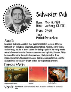 At home art lessons for kids. Salvador Dali art projects for kids. Home school art lessons. Middle School Art, Art School, Salvador Dali Kunst, Salvador Dali Quotes, History Lessons For Kids, Art Doodle, Art Handouts, Virtual Art, Artists For Kids