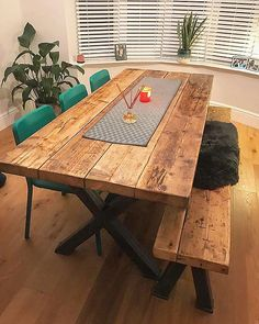 Reclaimed Industrial Chic XX Seater Solid Wood & steel Dining by Rcc Furniture Farmhouse Dining Table Set, 6 Seater Dining Table, Steel Dining Table, Reclaimed Wood Dining Table, Dining Table With Bench, Industrial Dining, Wooden Dining Tables, Dining Table Design, Industrial Chic