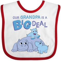 Inktastic Our Grandpa Is A Big Deal Baby Bib Family Blue Hippos Grandchildren Gift Clothing Infant, White