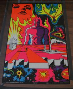 "1970 Houston Black light Poster ""The Trip"" Original Vintage Psychedelic Retro 70 