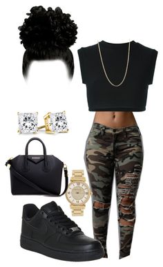 """""""Untitled #10"""" by r3albaddie ❤ liked on Polyvore featuring NIKE, adidas Originals, Michael Kors, Sevil Designs and Givenchy"""