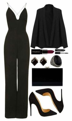 a959a8a7f39d what shoes to wear with white romper 50+ best outfits Black Jumpsuit Outfit  Night