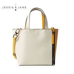 JESSIE&JANE Designer Brand 2016 New Capetown Series Pannelled Stylish Women Leather Messenger Bags 1299