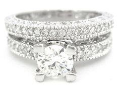 Round cut diamond engagement ring and band art deco by KNRINC, $2355.00