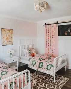 Absolutely loving on this little boho bedroom - you can't go wrong with a pink farmhouse door! Room, Pink Room, Girl Beds, Shared Girls Room, Room Inspiration, Shared Room, Room Decor, Bedroom Decor, New Room