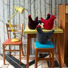 Chickens made from old sweaters.