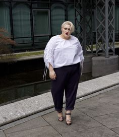 Fashion Must-Have: the clean high-waisted wrap trouser and the crisp white shirt with volumized sleeves.  Dressing Outside The Box meets navabi