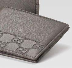 GUCCI MEN | Gucci men's grey leather bi-fold wallet | Men's Accessories