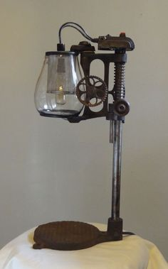 DIY industrial lamp made from old drill presses