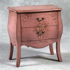 Image detail for -French Bombe Pink Chest / Cabinet with two drawers Handpainted Motif ...