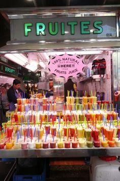 Fresh Fruit Juices @ la Boqueria Market - Barcelona, Spain