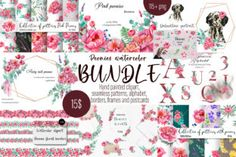 Watercolor Kit, Watercolor Design, Watercolor Flowers, Rose Clipart, Wedding Invitation Inspiration, A4 Poster, Stationery Design, Pink Peonies, Card Templates