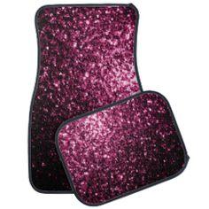 Beautiful Pink glitter sparkles Car Mats Set by #PLdesign #PinkSparkles #SparklesGift