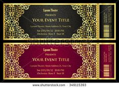 Vintage black and red ticket with golden ornament - stock vector