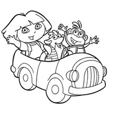 coloring page of dora with friends tico