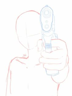 Holding gun, body position, front; How to Draw Manga/Anime