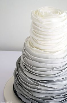 Grey Ombre Ruffled Rose Wedding Cake